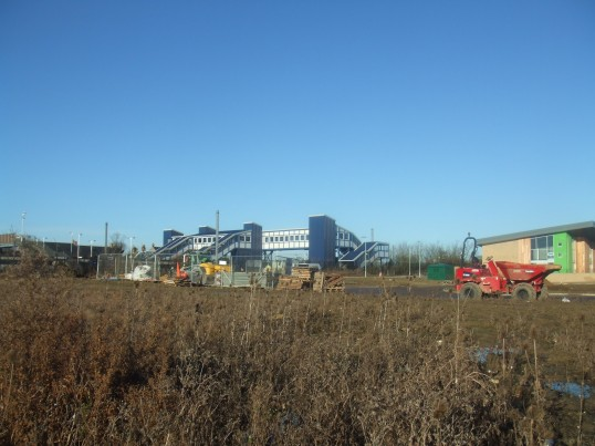New Railway Bridge and new shops at Loves Farm - December 17th 2013