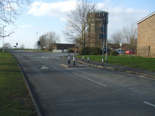 Water Tower in Bushmead Road, Eaton Socon with the Jehovah Witnesses Kingdom Hall just to the left - on February 17th 2013