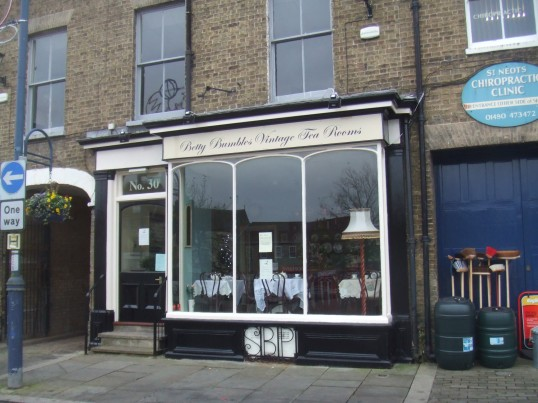 Betty Bumbles Vintage Tea Rooms, in St Neots Market Square - about to open - December 2013, in the former Sax Beauty Parlour