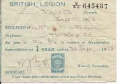 St Neots British Legion Membership Receipt for Mr Childerley - dated September 30th 1953