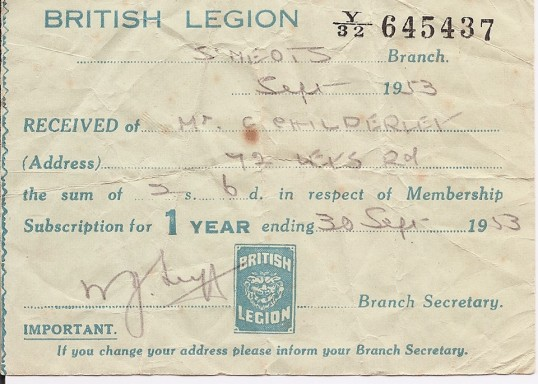 St Neots British Legion Membership Receipt for Mr Childerley - dated September 30th 1953