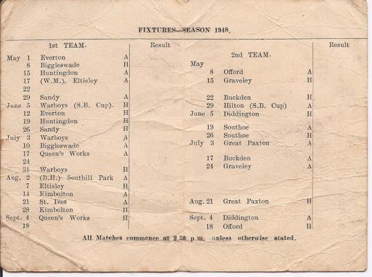 Fixture Card 1948 (inside)
