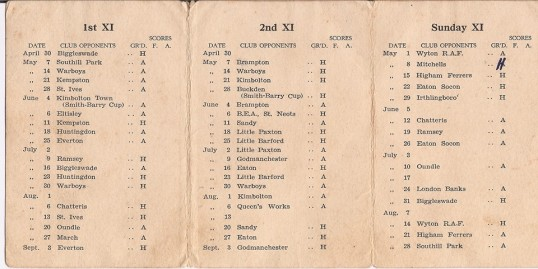 St Neots & District Cricket Club Fixtures Card 1949 - details of fixtures
