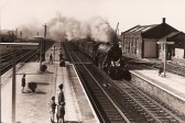 Flying Scotsman (No. 4472) steaming through St Neots Railway Station in 1967