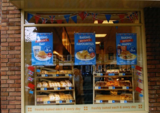 Queens Jubilee Decorations June 2012 – Greggs Bakers in the Market Square (Ann Richards)