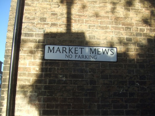 Market Mews street sign for new housing off New Street - January 2014