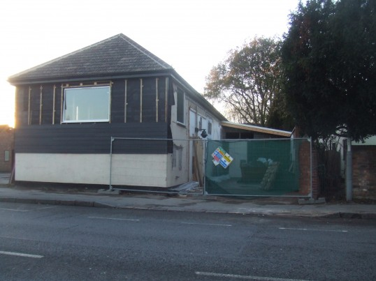 The former Soloprint building in Eaton Socon is getting new wood cladding - January 2014