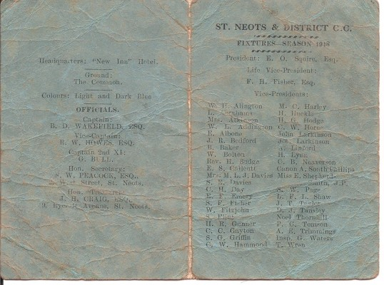 St Neots & District Cricket Club Fixture List 1948
