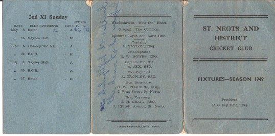 St Neots & District Cricket Club Fixtures Card 1949