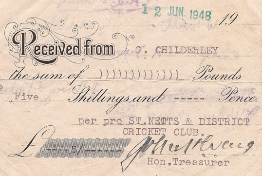 St Neots & District Cricket Club Subscription Receipt - 1948