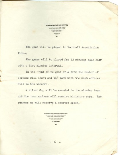 St Neots Carnival 1958 Ladies Football Tournament, page 7 of the programme - The Rules