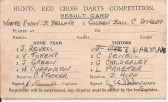 Hunts Red Cross Darts Competition Result Card - date unknown