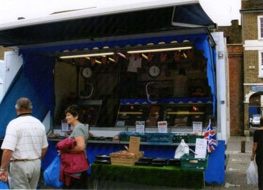 Queens Jubilee Decorations June 2012 – Burger Van on the Market Square (Ann Richards)