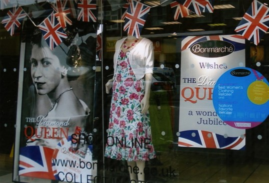 Queens Jubilee Decorations June 2012 – Bon Marche shop in the High Street (Ann Richards)