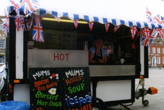 Queens Jubilee Decorations June 2012 – Burger Van in the Market Square (Ann Richards)