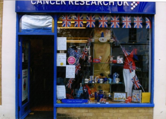 Queens Jubilee Decorations June 2012 – Cancer Research shop in the Market Square (Ann Richards)