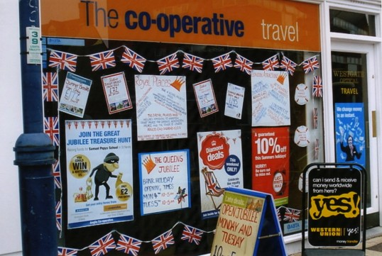 Queens Jubilee Decorations June 2012 – Co-op Travel in the High Street (Ann Richards)