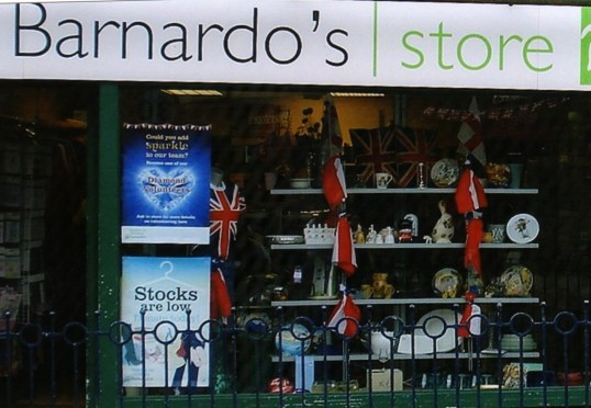 Queens Jubilee Decorations June 2012 - Dr Barnadoes shop in the High Street