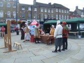 Mediaeval Fayre, acting in St Neots Market Square - 27th July 2013