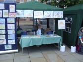 Mediaeval Fayre, Eatons Community Association selling their new Mediaeval book on St Neots Market Square - 27th July 2013