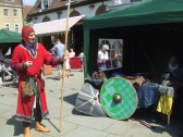 Mediaeval Fayre, one of the re-enactors on St Neots Market Square - 27th July 2013