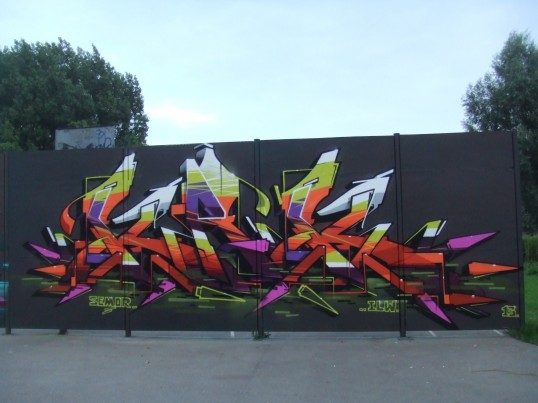 Skateboard Park mural, Eaton Ford, St Neots - 8th August 2013