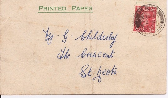 St Neots St Mary's Football Club Selection Card sent to G Childerley - November 1949