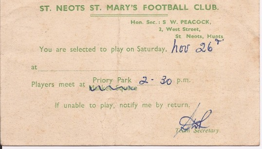 St Neots St Mary's Football Club Selection Card sent to G. Childerley - November 1949