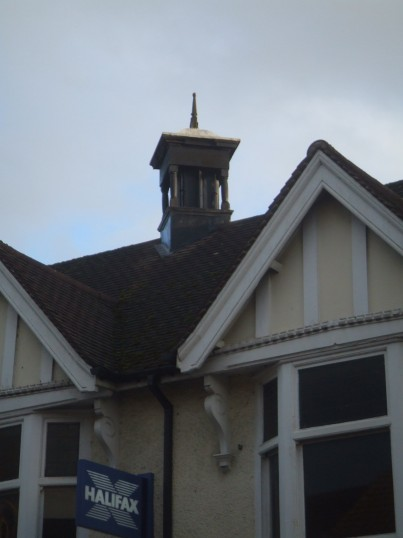 A strange feature on the roof of Halifax in St Neots High Street, February 2014