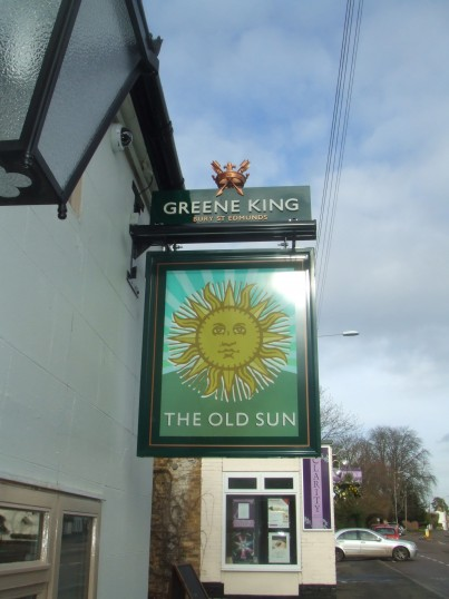 The new sign at The Old Sun in Eaton Socon - January 28th 2014