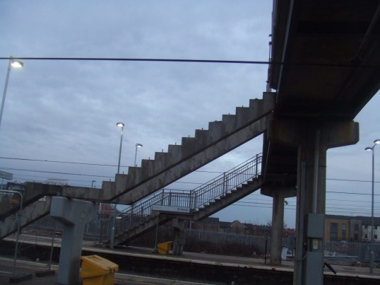 The old railway bridge is being demolished - the steps up from the platforms have gone - 17th Feb 2014
