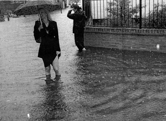 Wading through the flooding in Eynesbury, near Henbrook, August - September 2004