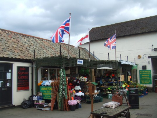Hamiltons greengrocers in the Cross Keys Mews - being very patriotic - March 2014