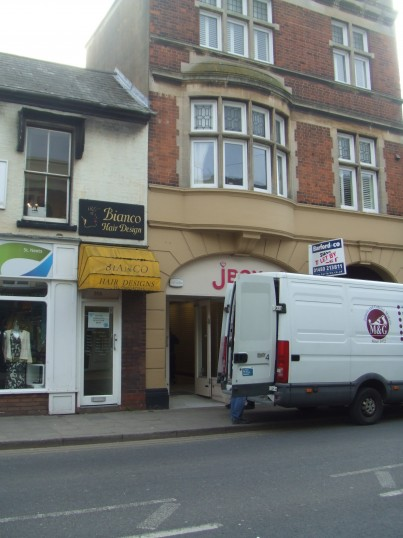 J Box Accessories, High Street, - a van is unloading something into the shop - 18th March 2014