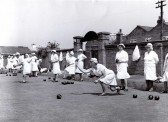 Ladies bowling at the St Neots Outdoor Bowling Club in the 1970s