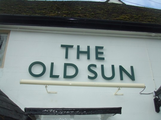 Old Sun in Eaton Socon, new lettering in January 2014