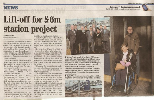 Opening of the new rail foot bridge at St Neots - Hunts Post Feb 26th 2014
