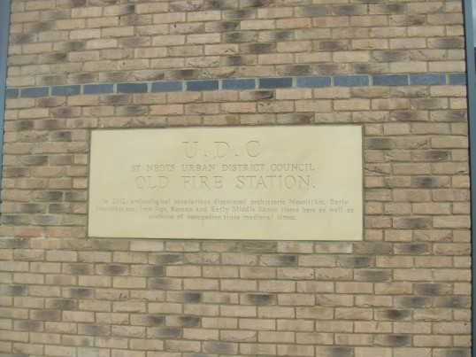 UDC Plaque for the former Fire Station - on the new restaurant site in Huntingdon Street - 12th May 2014