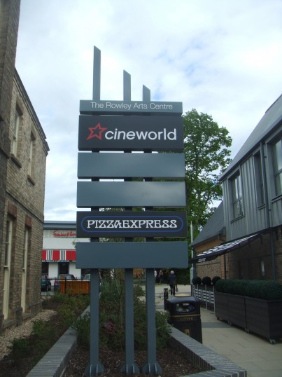 Sign at the entrance to The Rowley Arts Centre - Cineworld and the nearby Restaurants - 12th May 2014