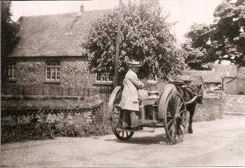The Milkman in the 1940s with his horse and cart, Montagu Street, Eynesbury