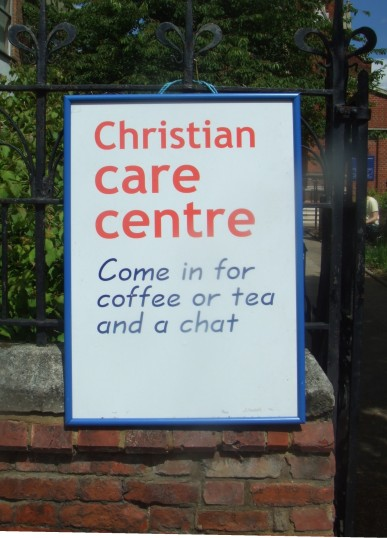 Christian Care Centre Sign outside the United Reformed Church in St Neots High Street - 10th June 2014