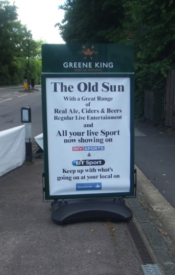 Old Sun, Great North Road, Eaton Socon - new sign on path - 10th June 2014