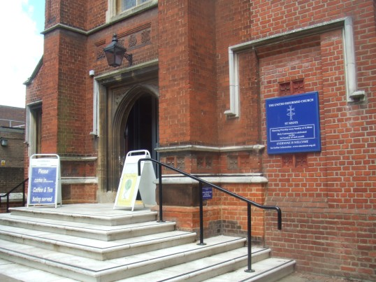Signs outside the United Reformed Church in St Neots High Street - 10th June 2014