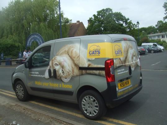 Cats Protection van - behind the shop in Cross Keys Mews - May 2014