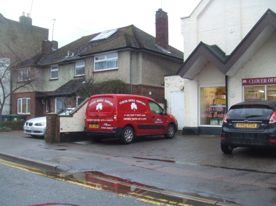 Clover Office Supplies van outside the shop in new Street, St Neots - 18th Feb 2014