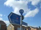 Sustrans Finial on the top of the signpost in Shakespeare Road, Eaton Socon - 2nd April 2013