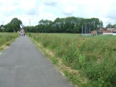 View along the Willow pathway from Willow Bridge towards Eaton Socon with the cricket field on the right - 20th June 2012