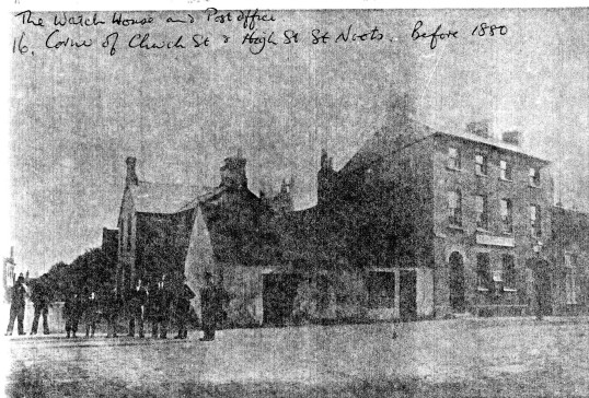 The Watch House and Post Office at the corner of Church Street and the High Street - before 1880