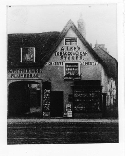 Arthur Lee's Plumbers and Tobacco & Cigar Shop in St Neots High Street in the 1880s