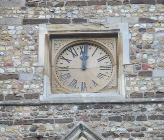 Eaton Socon Church Clock - standing still at 12 o'clock - 9th November 2014